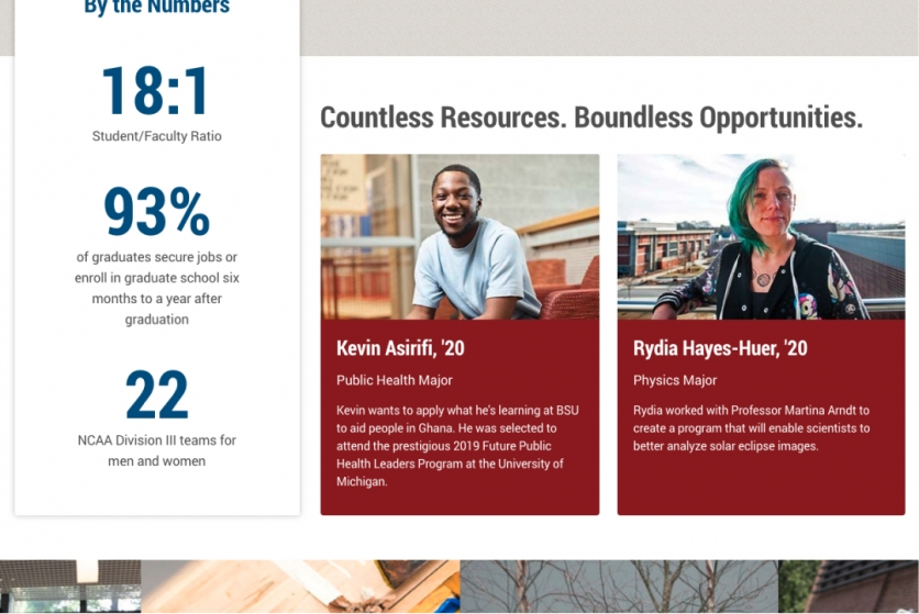 screenshot of BSU student stories homepage feature