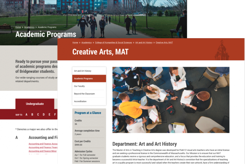 two screenshots of the academic landing page and a department page