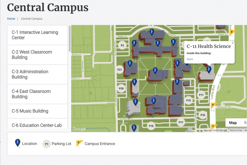 screenshot of central campus map with location expanded