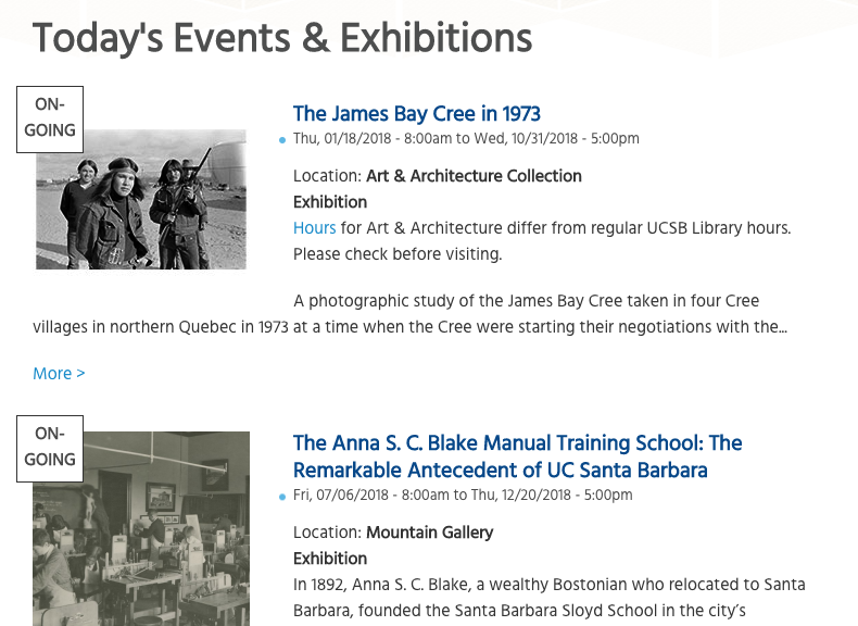 UCSB library events and exhibition landing page design