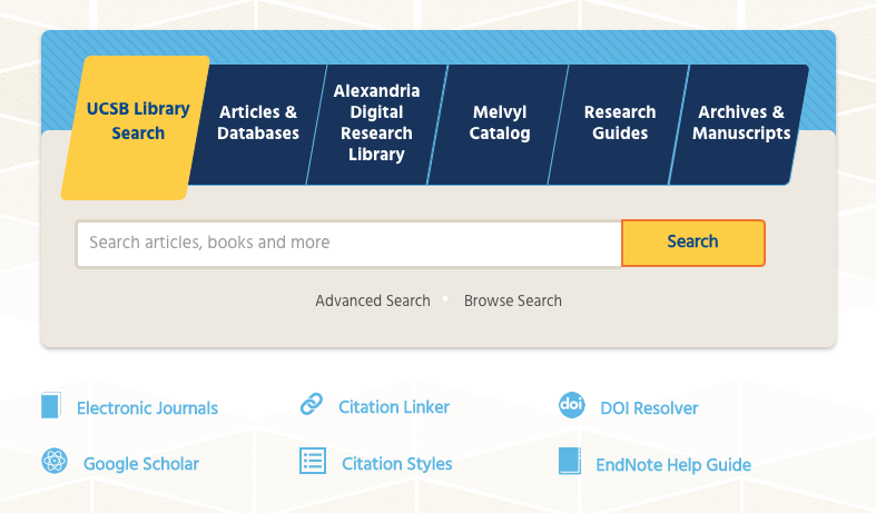 UCSB library interior search page design