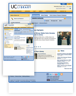 UCSB library old homepage design