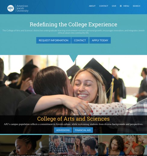 AJU college landing page