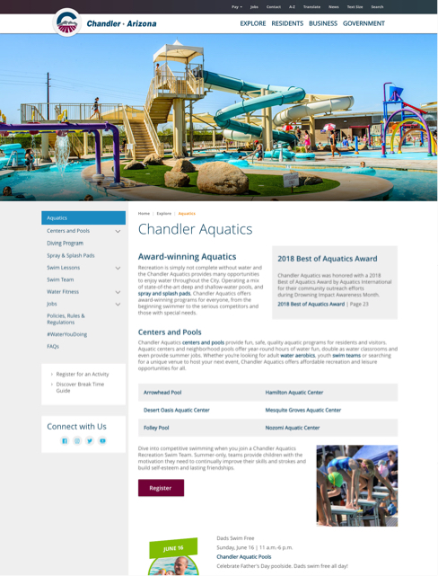 screenshot of aquatics page