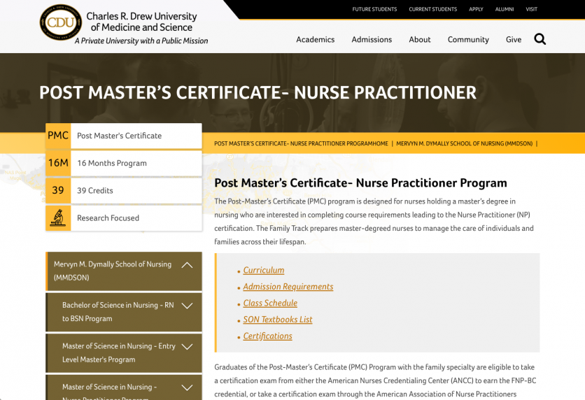 Nursing program screenshot