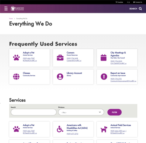 screenshot of city services page