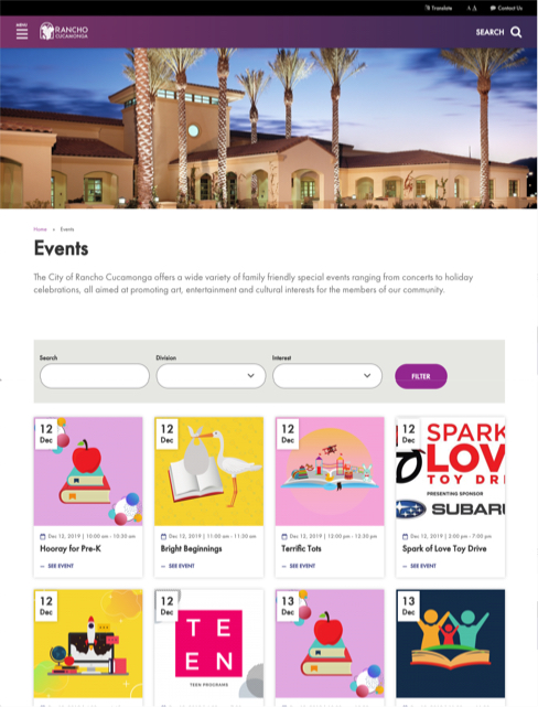 screenshot of events page