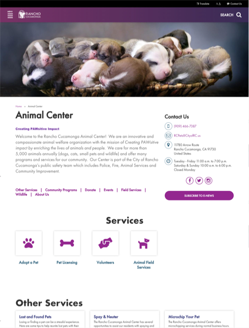 screenshot of animal center page