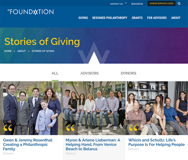 Stories of giving page screenshot
