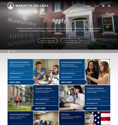 Marietta college apply walkthrough page