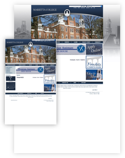 Marietta College previous homepage design