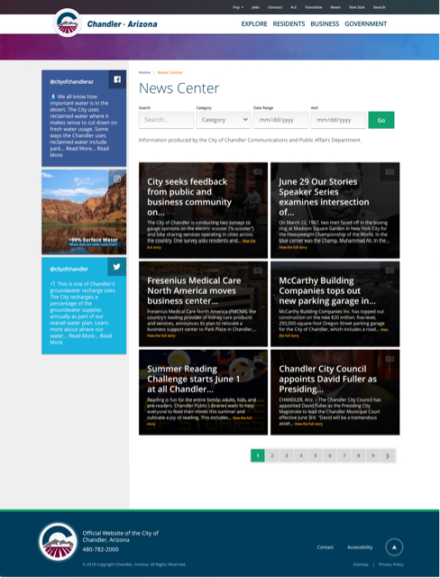 screenshot of news center