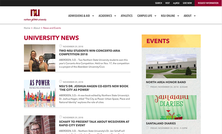 news and events feeds screenshot