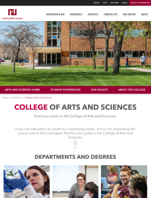 College of arts and sciences screenshot