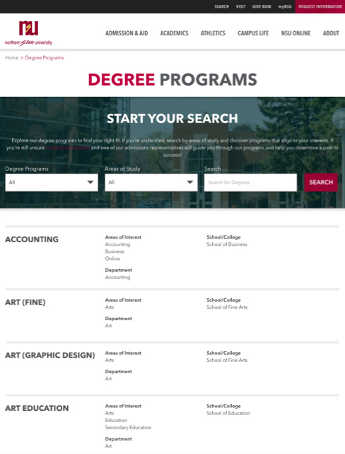degree search screenshot