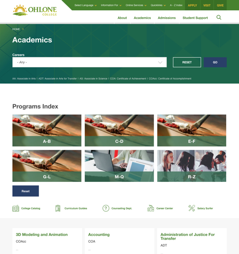 Ohlone Academics page design