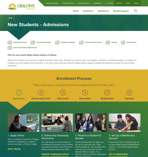 Ohlone Admissions page design