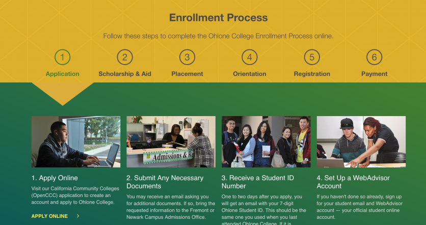 Ohlone enrollment steps and information