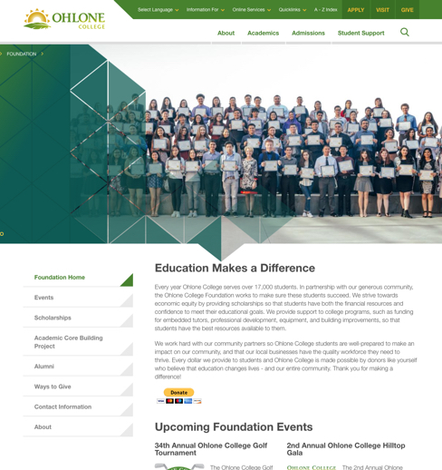 Ohlone Foundation page design
