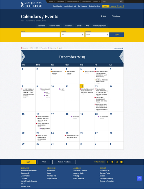 screenshot of calendar