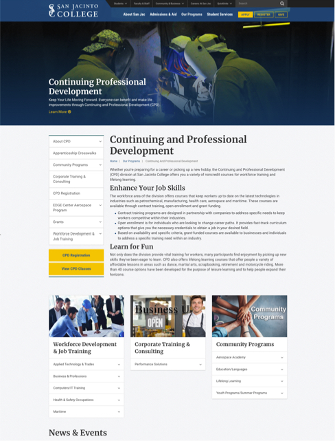 screenshot of professional development page