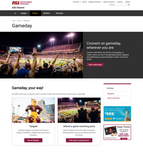gameday page screenshot
