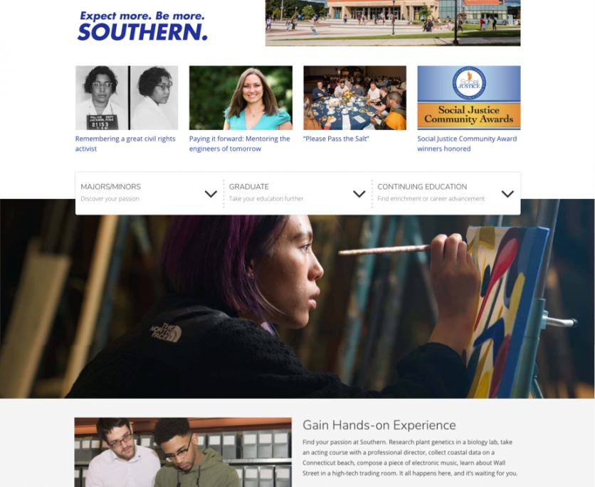 homepage screenshot with images of students
