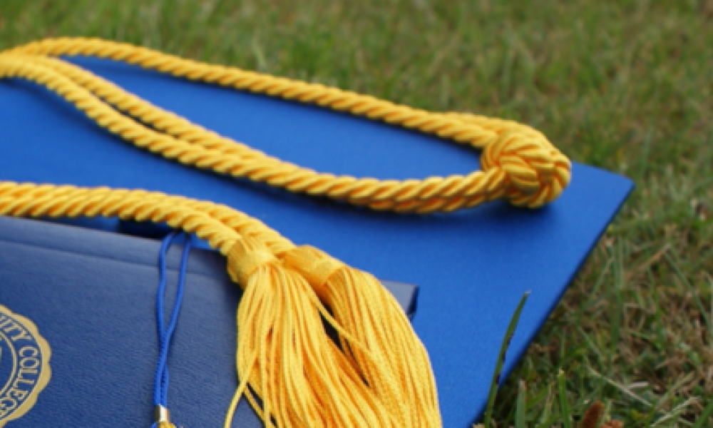 mortarboard and tassel in grass