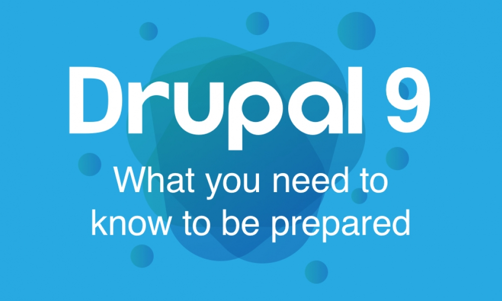 drupal 9 logo and cover image on blue background