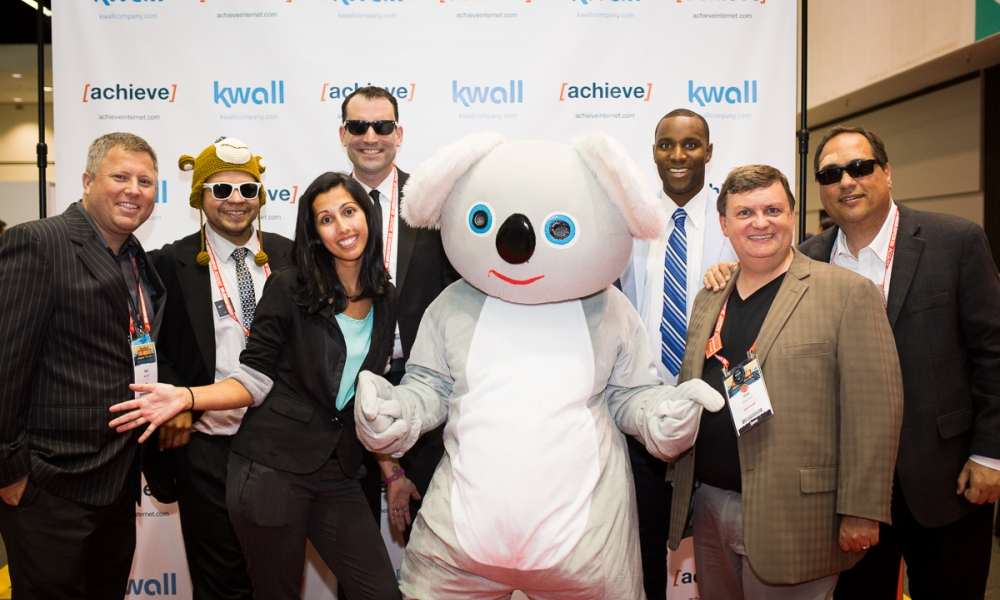 KWALL team with koala mascot at drupalcon