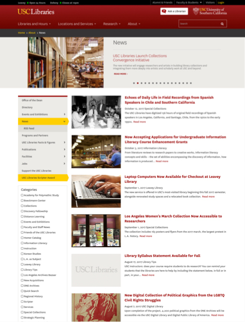 USC Libraries news feed screenshot