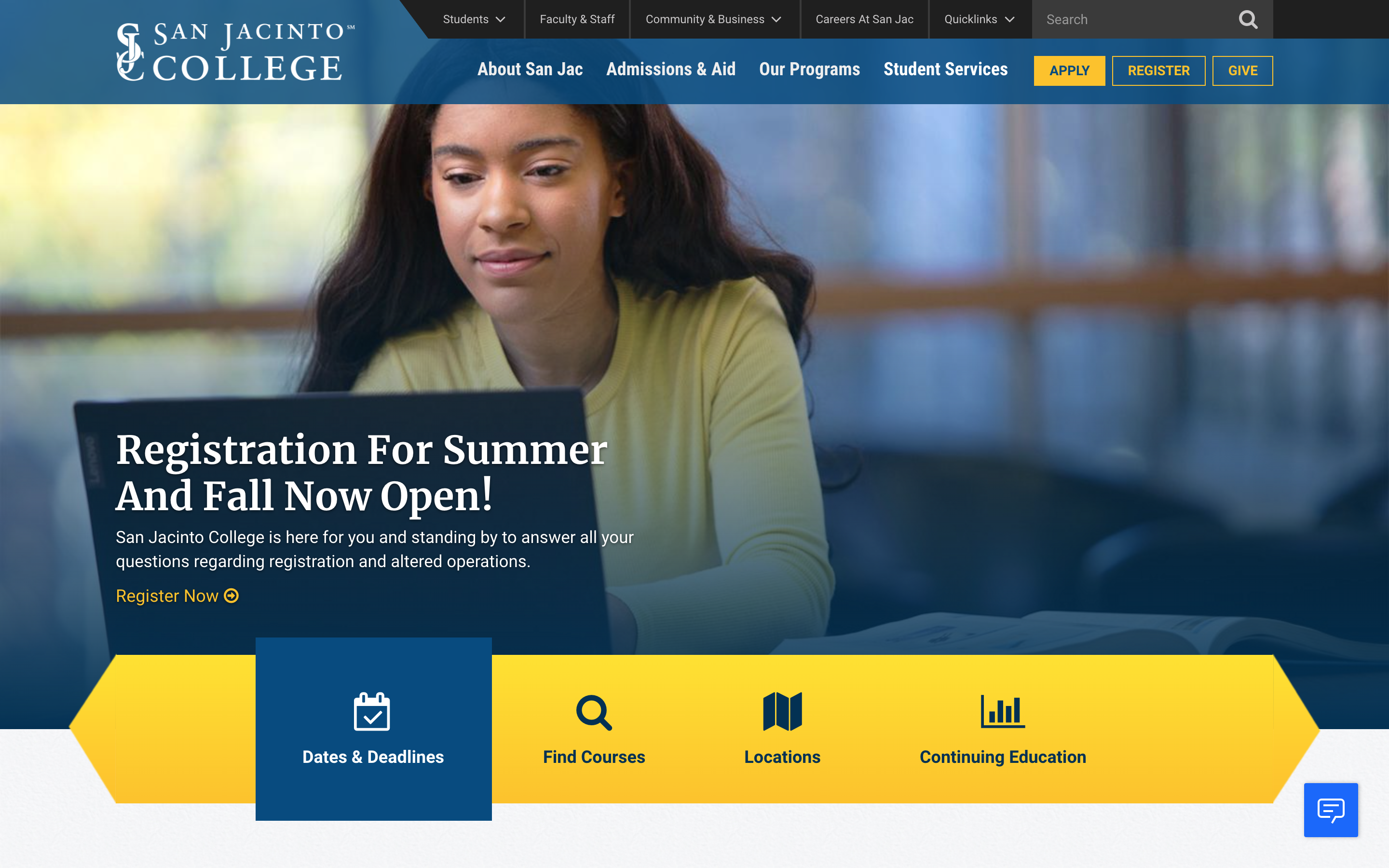 Screenshot of San Jacinto College website redesign by KWALL used to demonstrate the importance of promoting dates and deadlines on your higher ed website.
