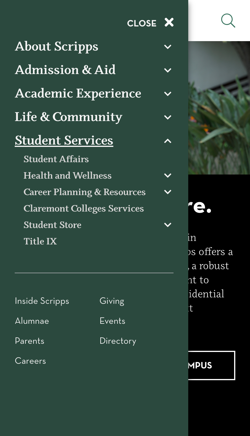 Screenshot of the Scripps College mobile website used to show the inclusion of Student Services in the main menu.